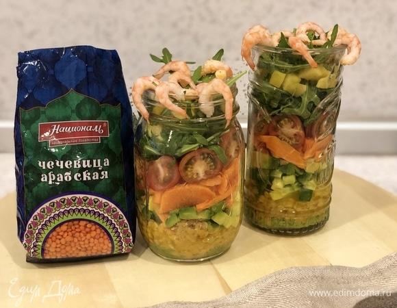 Витаминный салат с чечевицей и манго