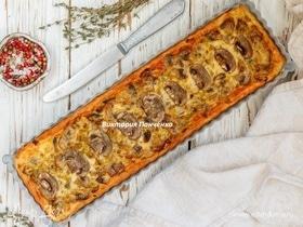 Тарт с грибами и луком-пореем