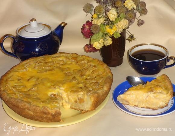 Пирог из творожного теста с тыквенным суфле и яблоками