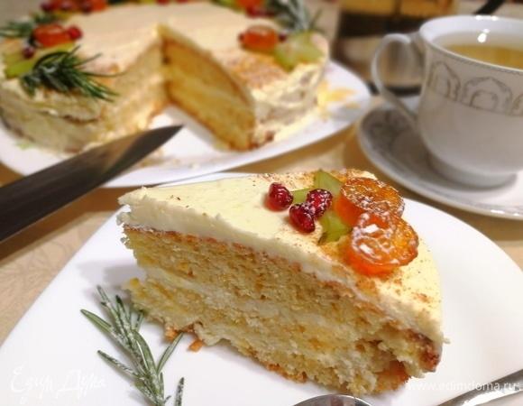 Бисквитный торт с творожно-сливочным кремом