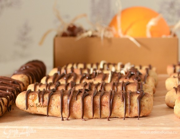 Творожно-медовое печенье с фундуком, апельсином и шоколадом