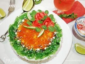 Салат «Нежность» с красной рыбой и рисом