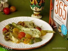 Теплый салат из фенхеля с помидорами