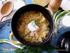 Рисовый суп с молодой капустой