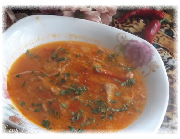Куриный томатный суп с тыквой и вермишелью
