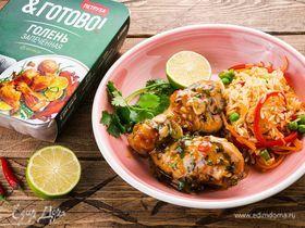 Запеченные куриные голени с рисом под имбирным соусом