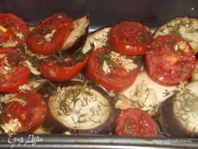 Печеные овощи с чесноком