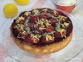 Творожный торт со сливами и лимоном