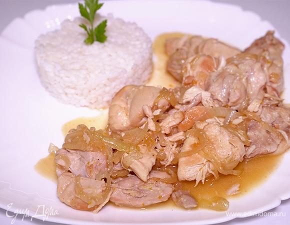 Тушеная курица с луком и медом