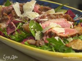 Тальята с салатным миксом и пармезаном