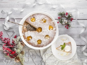 Пирог с консервированными персиками