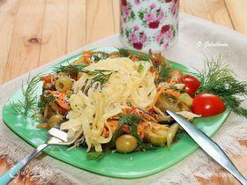 Тальятелле с овощами и соевым соусом