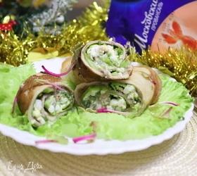 Рулеты из блинов с печенью минтая и зеленью