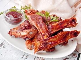 Свиные ребра гриль в соусе тонкацу