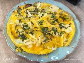 Фриттата с картофелем, козьим сыром и базиликом