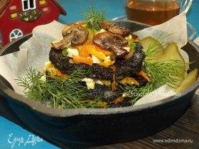 Грибные оладьи с овощами и тофу