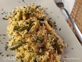 Рис с грибами и стручковой фасолью