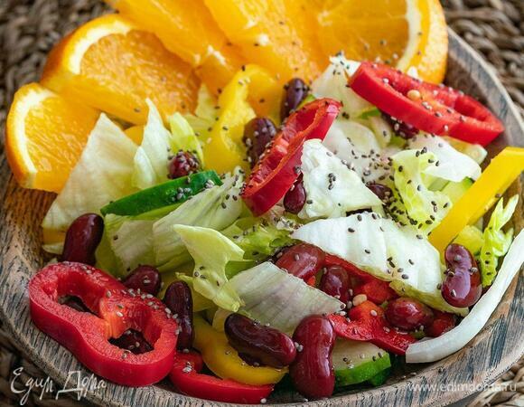 Салат с фасолью и апельсином
