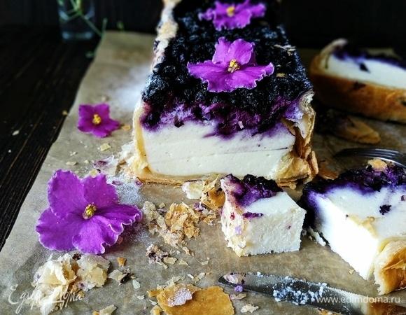 Пирог с рикоттой и черникой