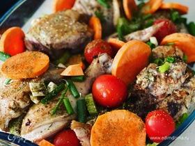 Курица в компании овощей