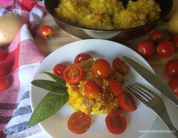Минтай с картофелем и помидорами черри