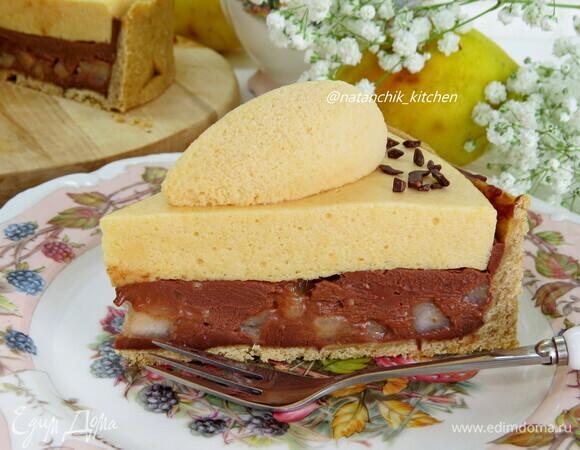 Шоколадно-грушевый тарт с кремом шибуст
