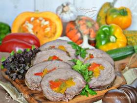 Рулет из говядины с овощами