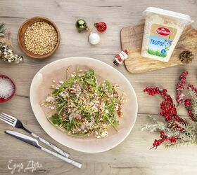 Салат с вялеными томатами, руколой и творогом