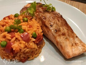 Рис «Джувеч» с глазированным лососем
