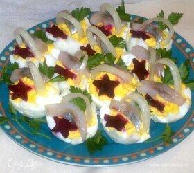 Фаршированные яйца с сельдью