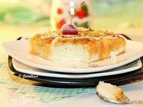 Молочный десерт с карамелью и кремом