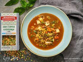 Вегетарианский суп из микса гороха и чечевицы