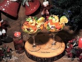 Рождественский салат из морепродуктов с красной икрой
