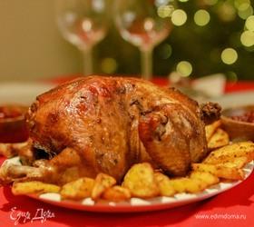 Курица с клюквенным соусом и запеченным картофелем