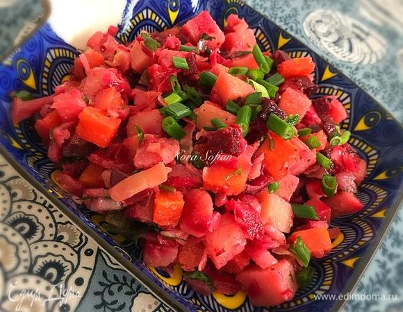 Овощной салат с квашеной капустой