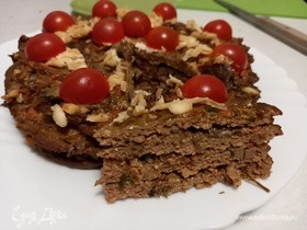 Печеночный торт с шампиньонами