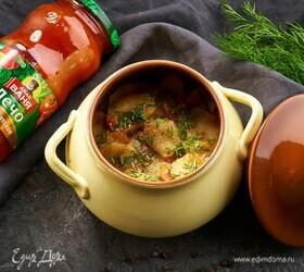 Картофель с овощами, запеченный в горшочках