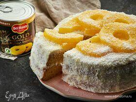 Бисквитный торт с ананасами