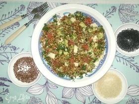 Салат с грейпфрутом, авокадо и проращенной пшеницей