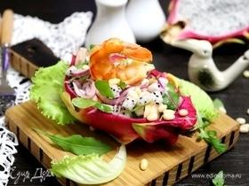 Салат с креветками и питахайей