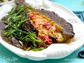 Камбала, фаршированная овощами и сыром