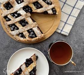 Черничный пирог на творожном тесте