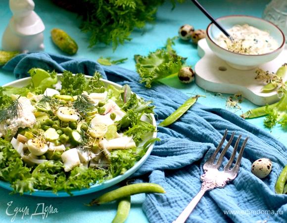 Салат зеленый с кальмаром