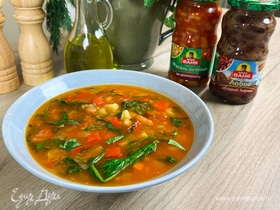 Постный суп с печеной фасолью и овощами