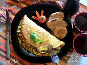 Мексиканский омлет с курицей и овощами